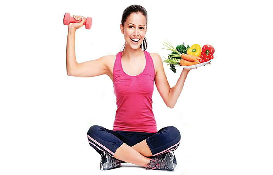 Nutrition and Exercise - girl and plate