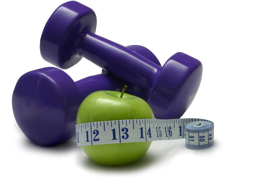 Weight Loss 2 - apple, weight and measuring tape