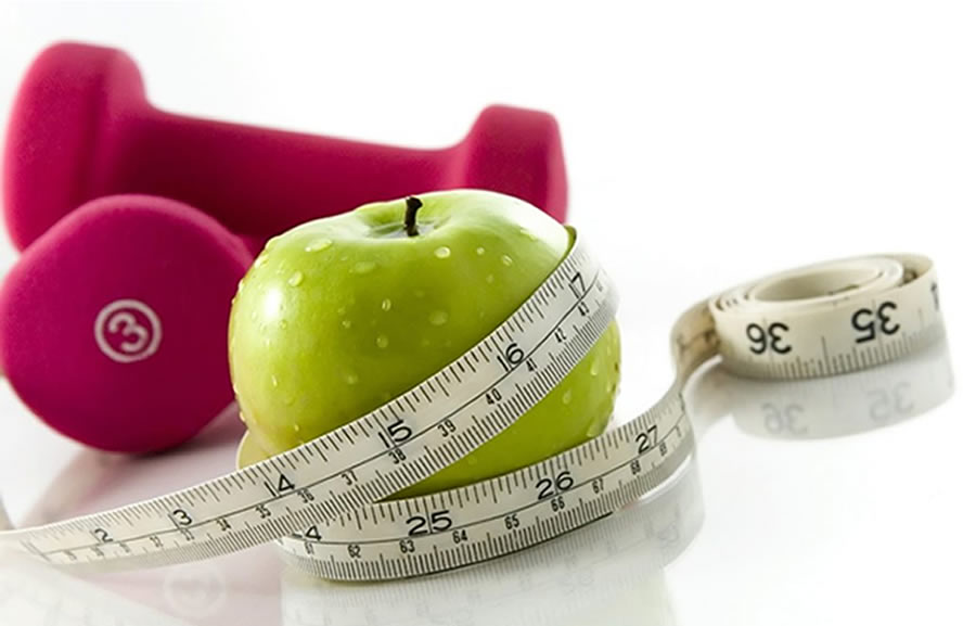 Weight Loss - apple, weight and measuring tape