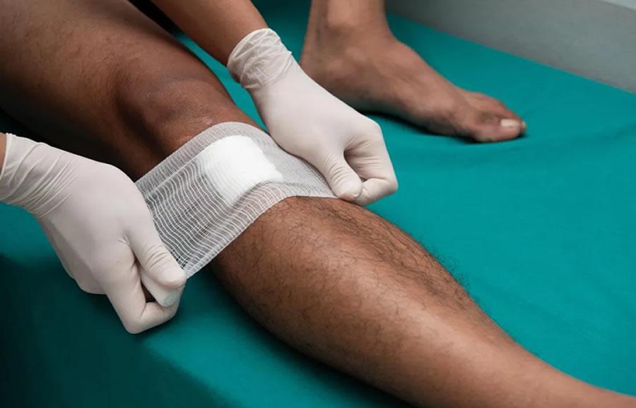Wound Care - plaster on leg